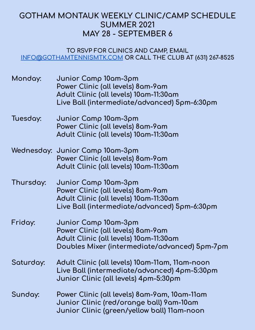 Gotham MTK Weekly Schedule